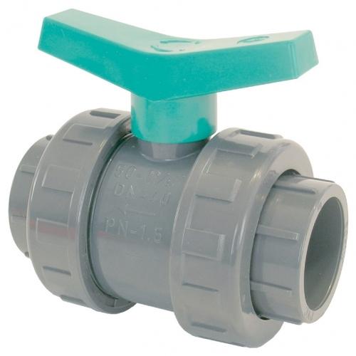 Válvula de Bola PVC DE050 mm Maneta Verde